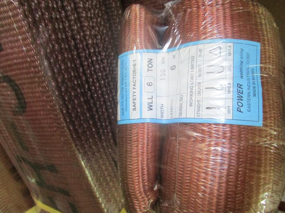 Cáp vải cẩu hàng bản dẹt 6 tấn, Cáp vải bản dẹt 6 tấn, Cáp vải cẩu hàng, Dây cáp vải bản dẹt 6 tấn